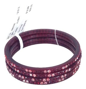 Chamak by Priya Kakkar Resin Bangle Bracelet w Crystal Inlay Set of 4, Deep Red