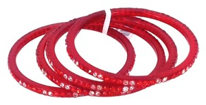Chamak by Priya Kakkar Chamak by Priya Kakkar Pave Crystal Bangle Bracelets Set of 4 Red NWT $55