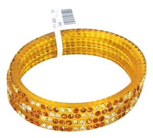Chamak by Priya Kakkar Chamak by Priya Kakkar Pave Crystal Bangle Bracelets Set of 4 Yellow NWT $55
