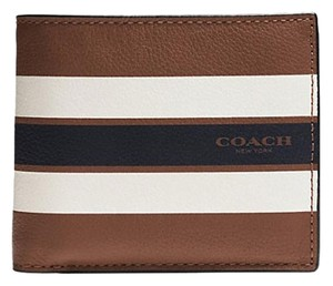 Coach F75399 COMPACT ID WALLET IN VARSITY DARK SADDLE LEATHER
