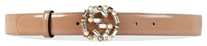 Gucci Embellished Winterlocking G Beige Belt