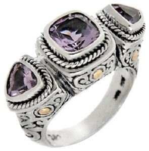 Bali Designs 3ct Pink Amethyst Sterling Silver and 18K 3-Stone Ring
