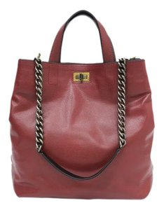 Chanel Leather Chain Satchel in maroon