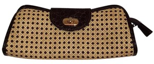 Brown With Natural Woven Color Clutch