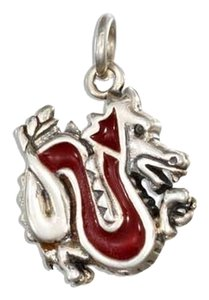 unknown STERLING SILVER ENAMEL RED DRAGON CHARM