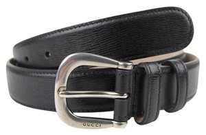 Gucci New Authentic GUCCI Mens Black Leather Belt with Large Metal Buckle 295336 1000 105/42