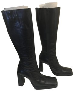 Charles David Square Toe Heeled Black Boots