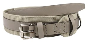 Gucci New Leather/Fabric Belt with Square Buckle 341744 beige 1523 95/38