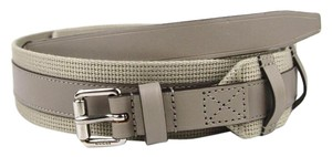 Gucci New Leather/Fabric Belt with Square Buckle 341744 beige 1523 105/42