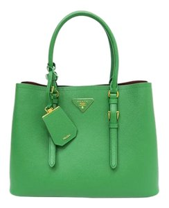 Prada Saffiano Cuir Medium Double Tote Satchel in green