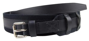 Gucci New Leather/Fabric Belt with Square Buckle 341744 black 4164 115/46