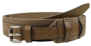 Gucci New Authentic GUCCI Mens Leather/Fabric Belt with Square Buckle 341744 brown2527 85/34