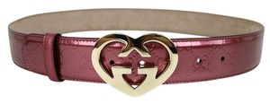 Gucci Patent Leather Belt Heart Shaped GG Buckle 105/42 Pink 245856 6414