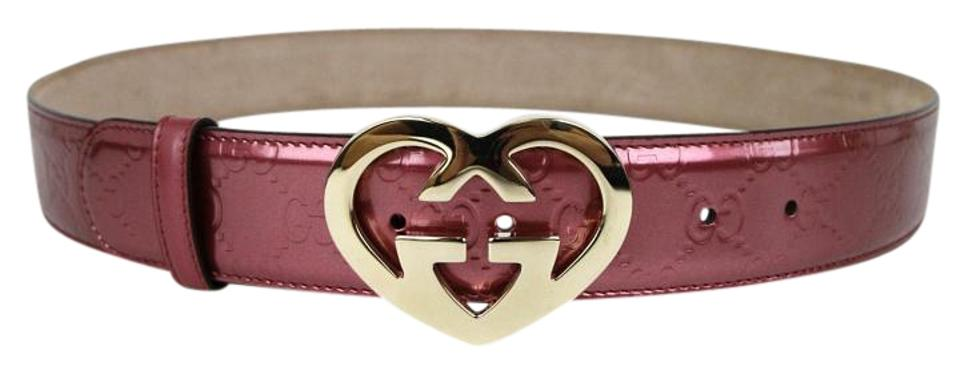 4273672b41a Gucci Pink Patent Leather Heart Shaped Gg Buckle 100 44 245856 6414 .