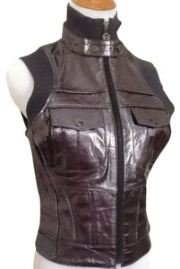Bebe Genuine Leather Gunmetal Metallic Sporty City Chic Trendy Vest