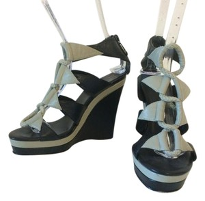 Diane von Furstenberg Black & gray leather Wedges
