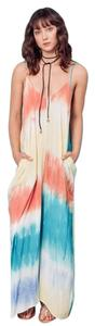 Multi Color Tie Dye Yellow, Peach, Turquoise Maxi Dress by Love Stitch