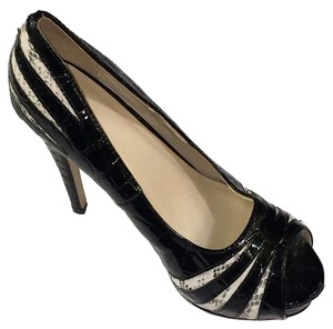 Joey O Peep Toe Heels Snakeskin Pattern Padded Black Pumps