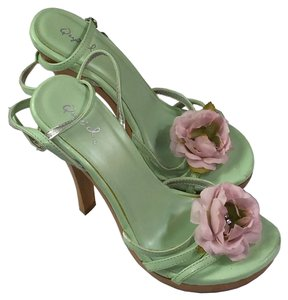 Qupid High Heel Open Toe Ankle Strap Padded Footbed Sherbert Green Sandals