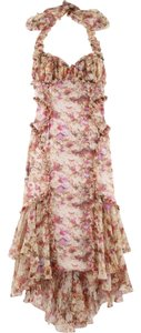 Zac Posen Siren Floral Silk Halter Chiffon Dress