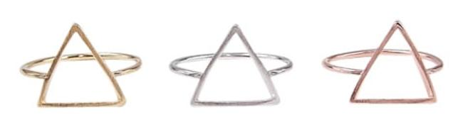 Item - Yellow Gold Plated Bermuda Triangle In Ring