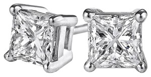 LoveBrightJewelry Princess Cut Natural Diamond Stud Earrings White Gold