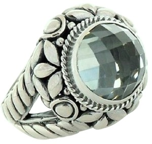 Bali Designs by Robert Manse 4ct Prasiolite Sterling Silver Checkerboard-Cut Ring - Size 8