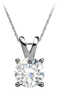 LoveBrightJewelry Round Diamond in 14K White Gold Pendant Free Chain