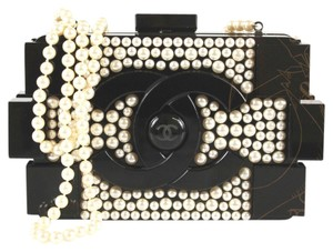 Chanel Limited Edition Pearlized Faux Pearl Black Clutch