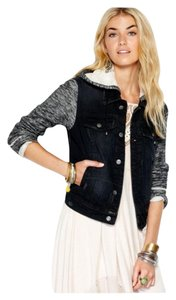 Free People Denim Knit Black and Gray Womens Jean Jacket