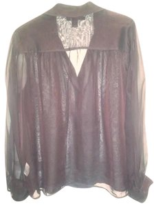 DKNY Classic 100% Silk Very Sheer Button Down Shirt Brown