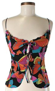 Nanette Lepore Bright Butterfly Print Tie Top