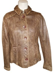 DKNY Distressed Leather brown Leather Jacket