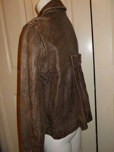 DKNY Distressed brown Leather Jacket
