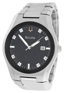 Bulova Authentic Men's Bulova 96D104 Steel Date Diamond Quartz Watch
