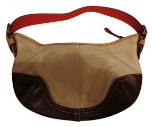 Coach Leather Canvas Hobo Bag