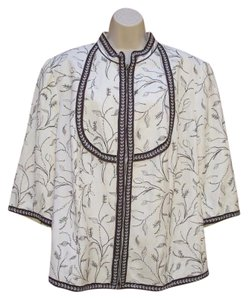 Peter Nygard Linen Plus-size Embroidered 3/4 Sleeve Zip Front Cream Brown Jacket