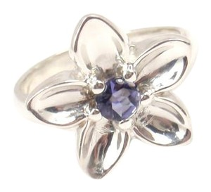 Tiffany & Co. Vintage Tiffany & Co Sterling Silver Iolite Flower Ring Size 6-1/4