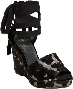Theodora & Callum- STUART WEITZMAN Platform Calf Hair Spain BLACK, GRAY, BROWN, WHITE Wedges