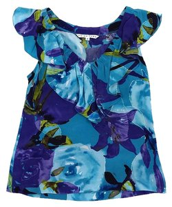 Trina Turk Blue & Purple Floral Print Top