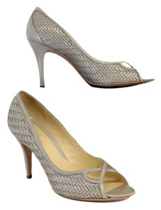 Cole Haan Light Grey Peep Toe Woven Leather Heels Pumps