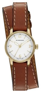 Burberry Burberry Women's Swiss The Utilitarian Gold Brown Leather Double Strap 30mm