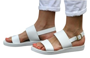 Steve Madden Birkenstock Ankle Strap Leather White Sandals