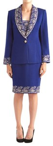 St. John St John Knits Blue Santana Knit Jacket & Skirt Suit (6) #12007