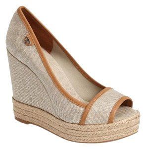 Tory Burch Natural / Gold Metallic Wedges