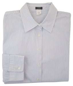 J.Crew Stripe Shirt 3/4 Sleeves Button Down Shirt Blue and White