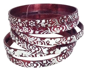 Chamak by Priya Kakkar Chamak by Priya Kakkar Engraved Bangle Bracelets Set of 6 Wine Red Silver NWT