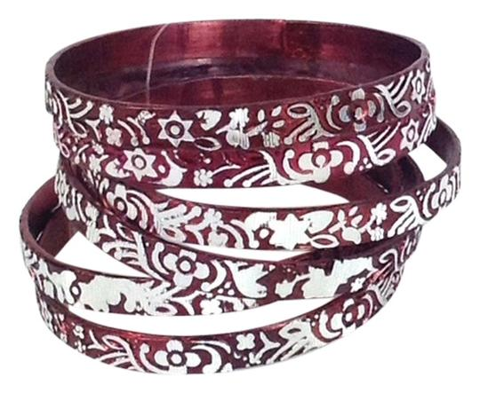 Chamak by Priya Kakkar Engraved Metal Bangle Bracelets Stack Set of 6 Wine Red