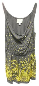 Deletta Sleeveless Sequin Top Gray with Yellow Sequins