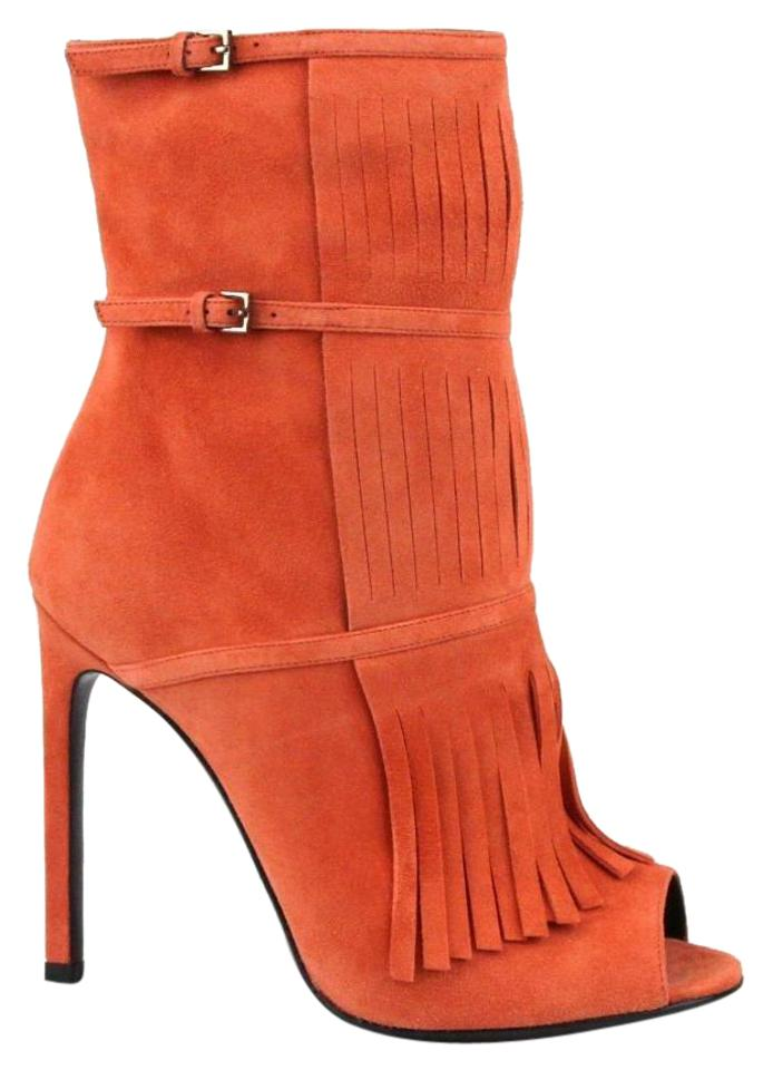 f286a115dfc Gucci Orange Suede Becky Gladiator Peep Toe 37 7 347283 6525 Boots Booties
